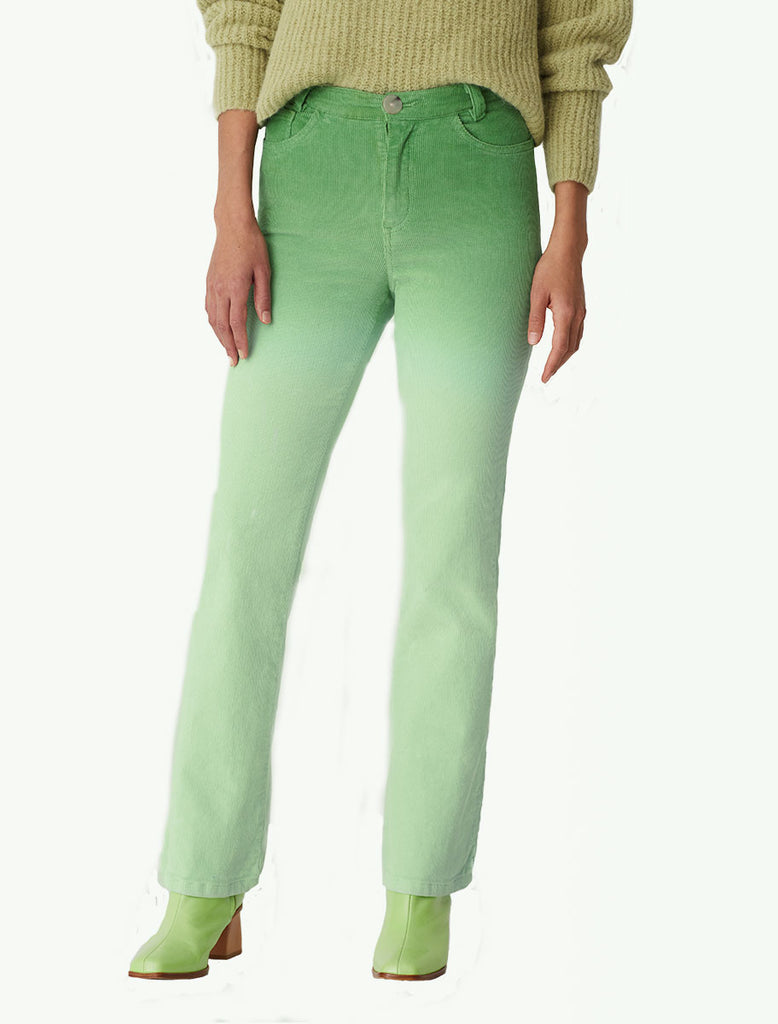 Player High-waisted, gradient dyed corduroy pants green