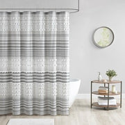 Calum Cotton Yarn Dye Shower Curtain with Pom Poms