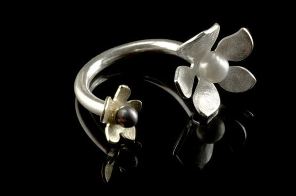 Tropical Flower Ring - Silver and Gold Plated with Pearls