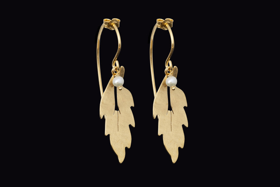 Forest Leaf Long Earrings - Silver - Gold Plated with Faceted Black Onyx Beads
