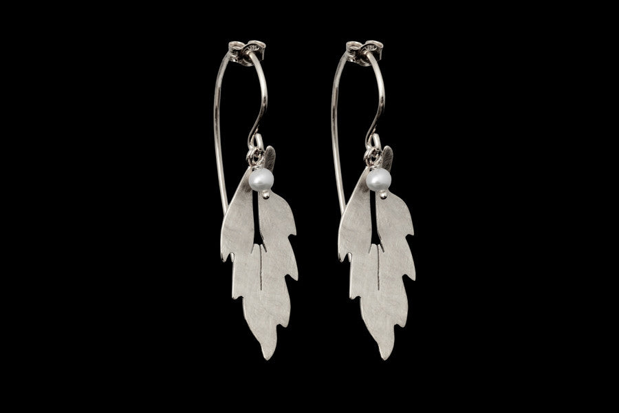 Forest Leaf Long Earrings - Silver with Onyx Beads