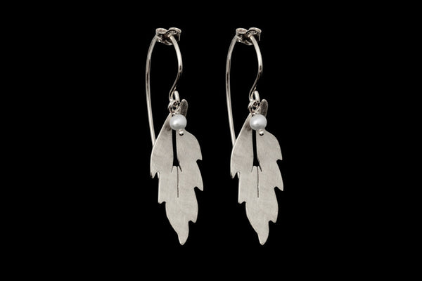 Forest Leaf Long Earrings - Silver with White Pearls