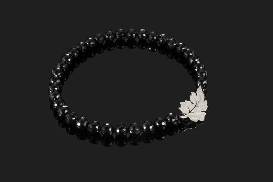 Forest Leaf Necklace - Silver with Onyx Beads