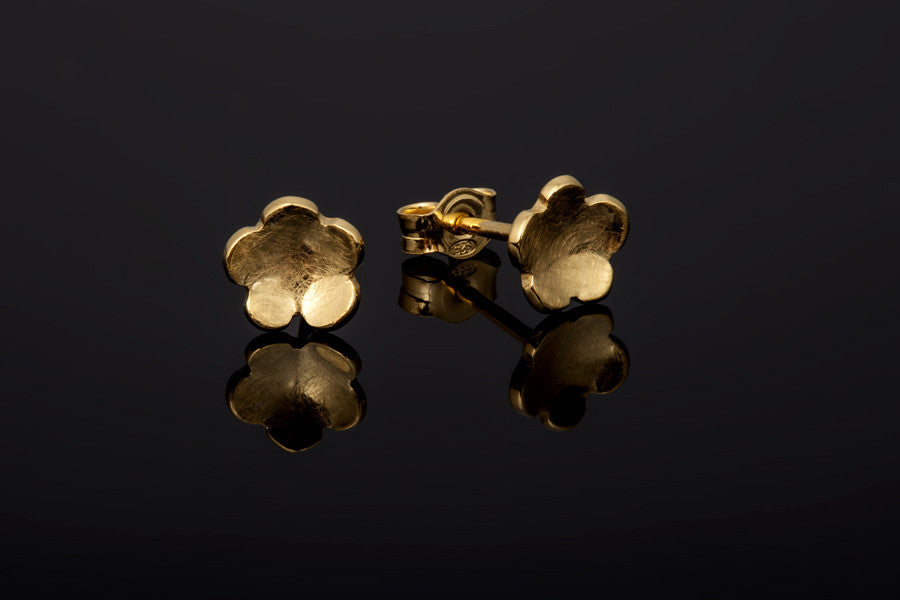 Cherry Blossom Stud Earrings - Gold Plated