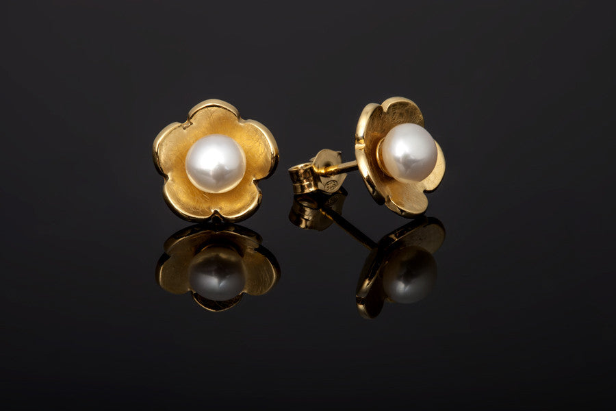 Cherry Blossom Stud Earrings - Gold Plated with White Pearls