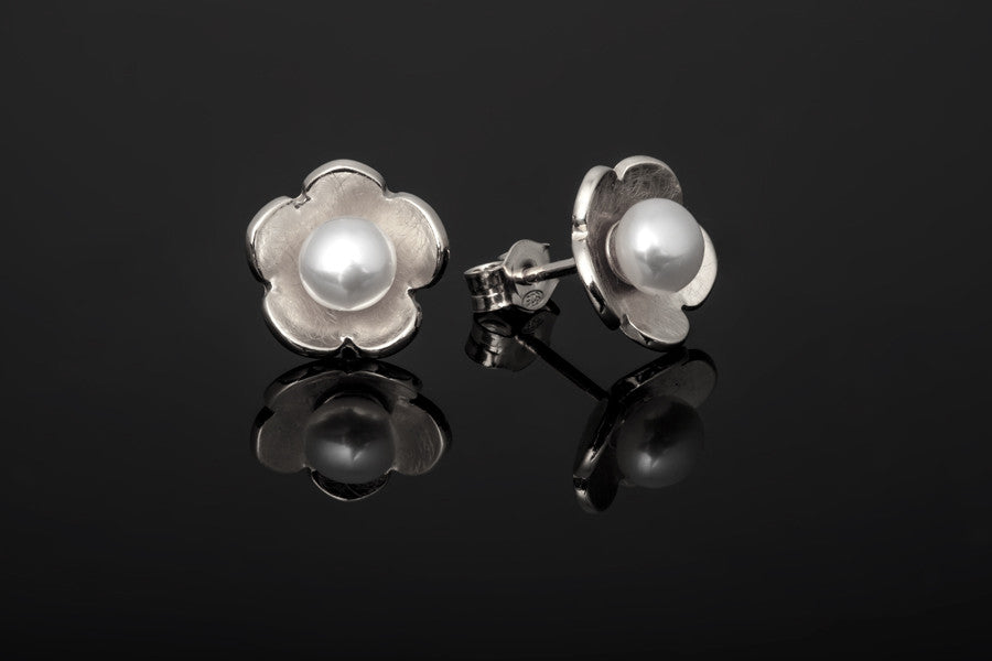 Cherry Blossom Stud Earrings - Silver with White Pearls