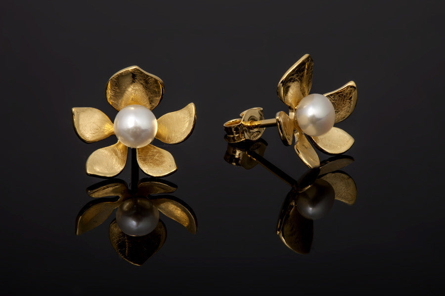 Tropical Flower Stud Earrings - Gold Plated with White Pearls