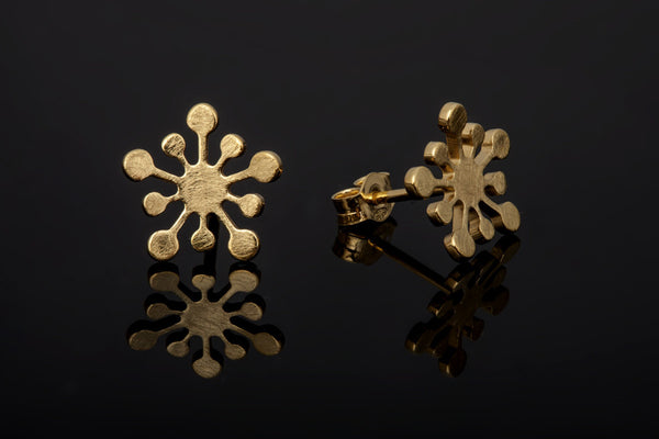 Snowflake Stud Earrings - Gold Plated