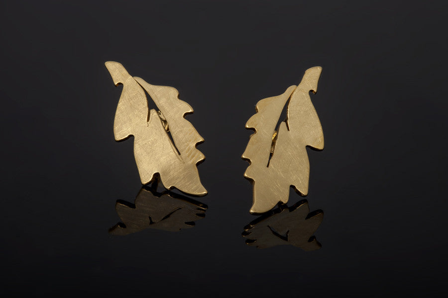 Forest Leaf Stud Earrings - Gold Plated