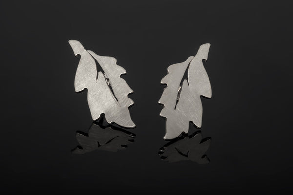 Forest Leaf Stud Earrings - Silver