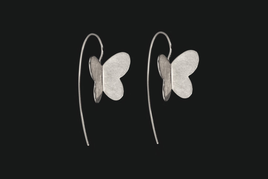 Butterfly Long Earrings - Silver