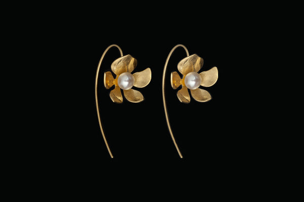 Tropical Flower Long Earrings - Gold Plated with White Pearls