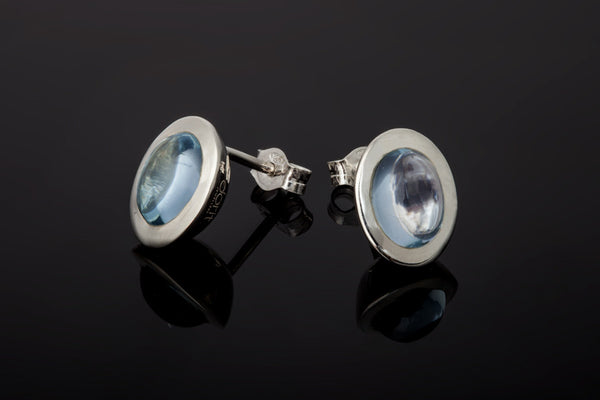Gem Oval Stud Earrings