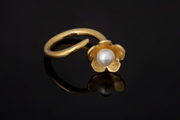 Cherry Blossom Ring - Gold Plated with White Pearl