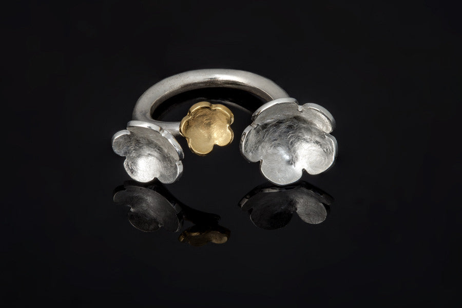 Cherry Blossom Ring - Silver and Gold Plated