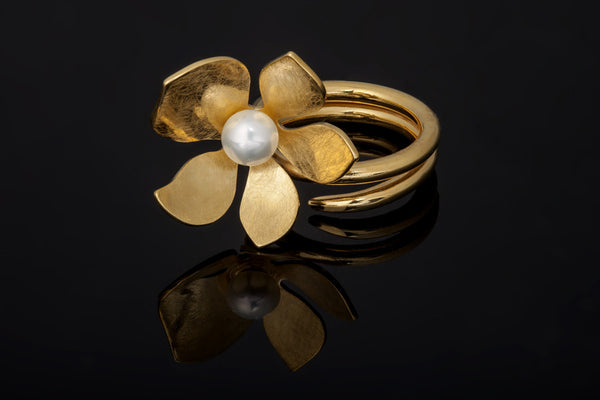 Tropical Flower Ring - Gold Plated with White Pearls