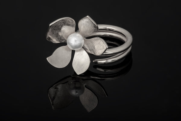 Tropical Flower Ring - Silver