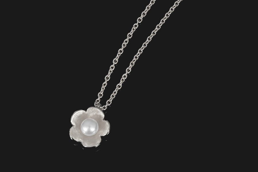 Cherry Blossom Pendant - Silver with White Pearl