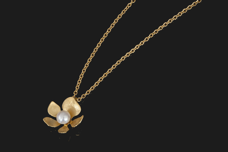 Tropical Flower Pendant - Gold Plated with White Pearl