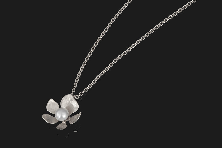 Tropical Flower Pendant - Silver with White Pearl