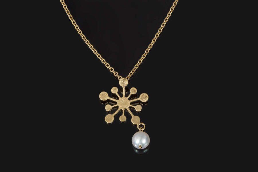 Snowflake Pendant - Gold Plated with White Pearl