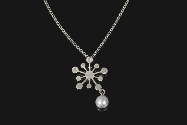 Snowflake Pendant - Silver with White Pearl