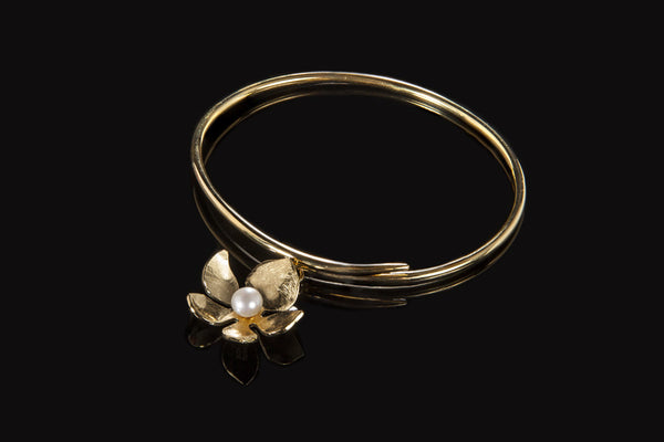 Tropical Flower Bangle - Gold Plated with White Pearl