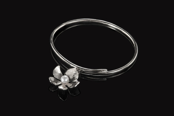 Tropical Flower Bangle - Silver with White Pearl