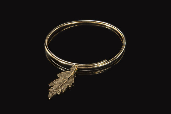 Forest Leaf Bangle - Gold Plated