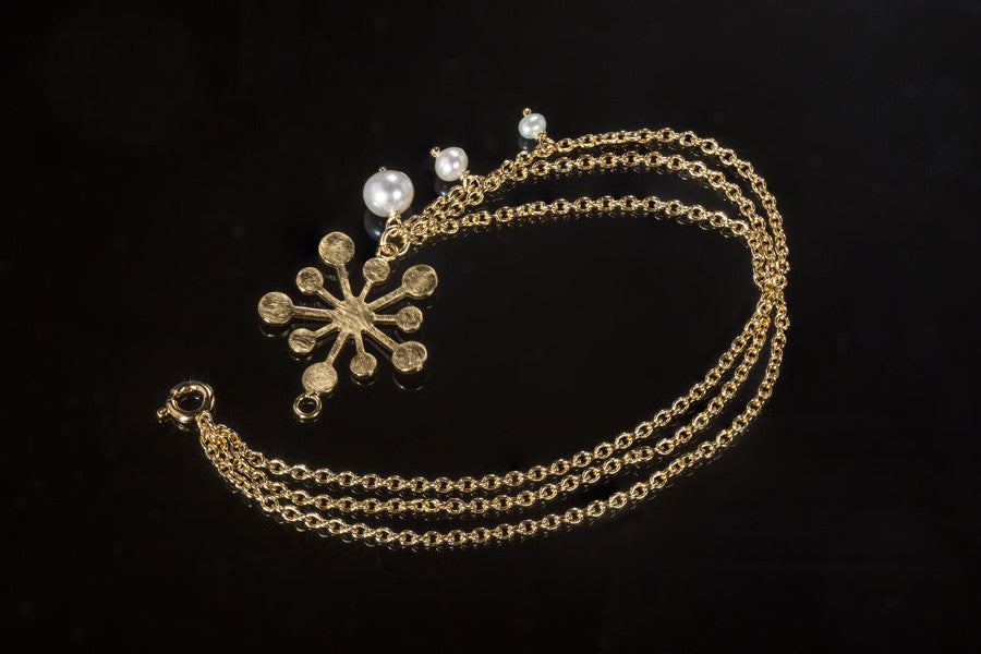 Snowflake Bracelet - Gold Plated with White Pearls