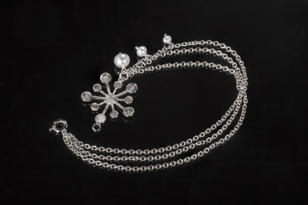 Snowflake Bracelet - Silver with White Pearls