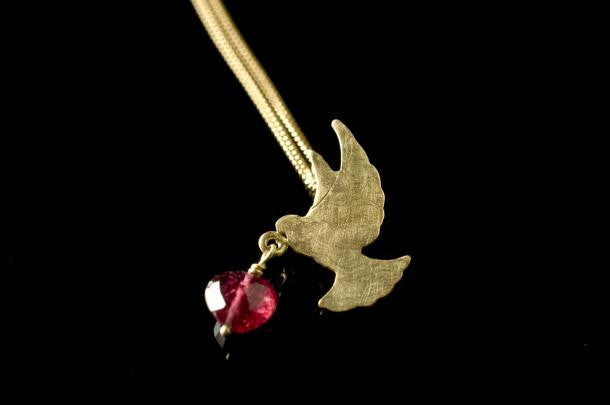 Love Bird Pendant - 18 ct Gold with Pink Tourmaline Bead