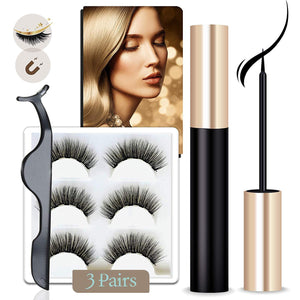 Elvanya Magnetic Eyeliner and Lashes Kit,  Magnetic Lashes Set [3-5 Pairs]