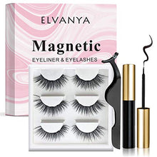 Magnetic Eyelashes with Eyeliner - Magnetic Eyeliner and Magnetic Eyelash Kit - Eyelashes With Natural Look - Comes With Applicator (3 Pair)