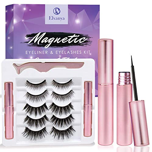 Elvanya Magnetic Eyelashes with Eyeliner - Magnetic Eyeliner and Magnetic Eyelash Kit