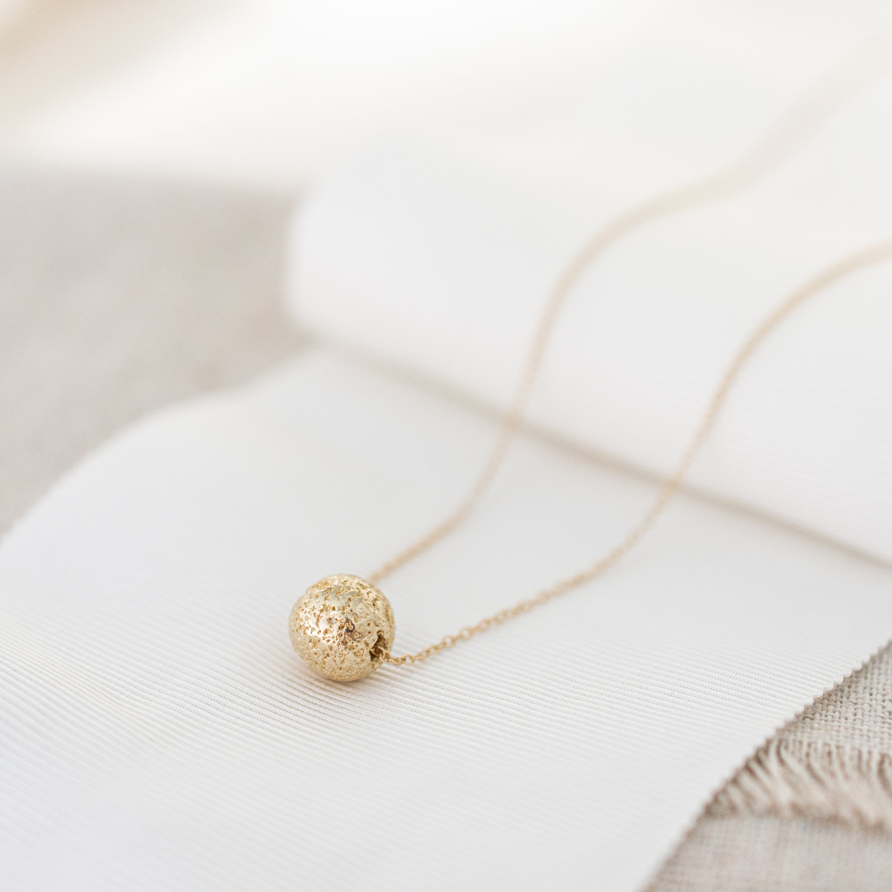 'Courage' 14k Gold Lava Bead Necklace | 14k Gold