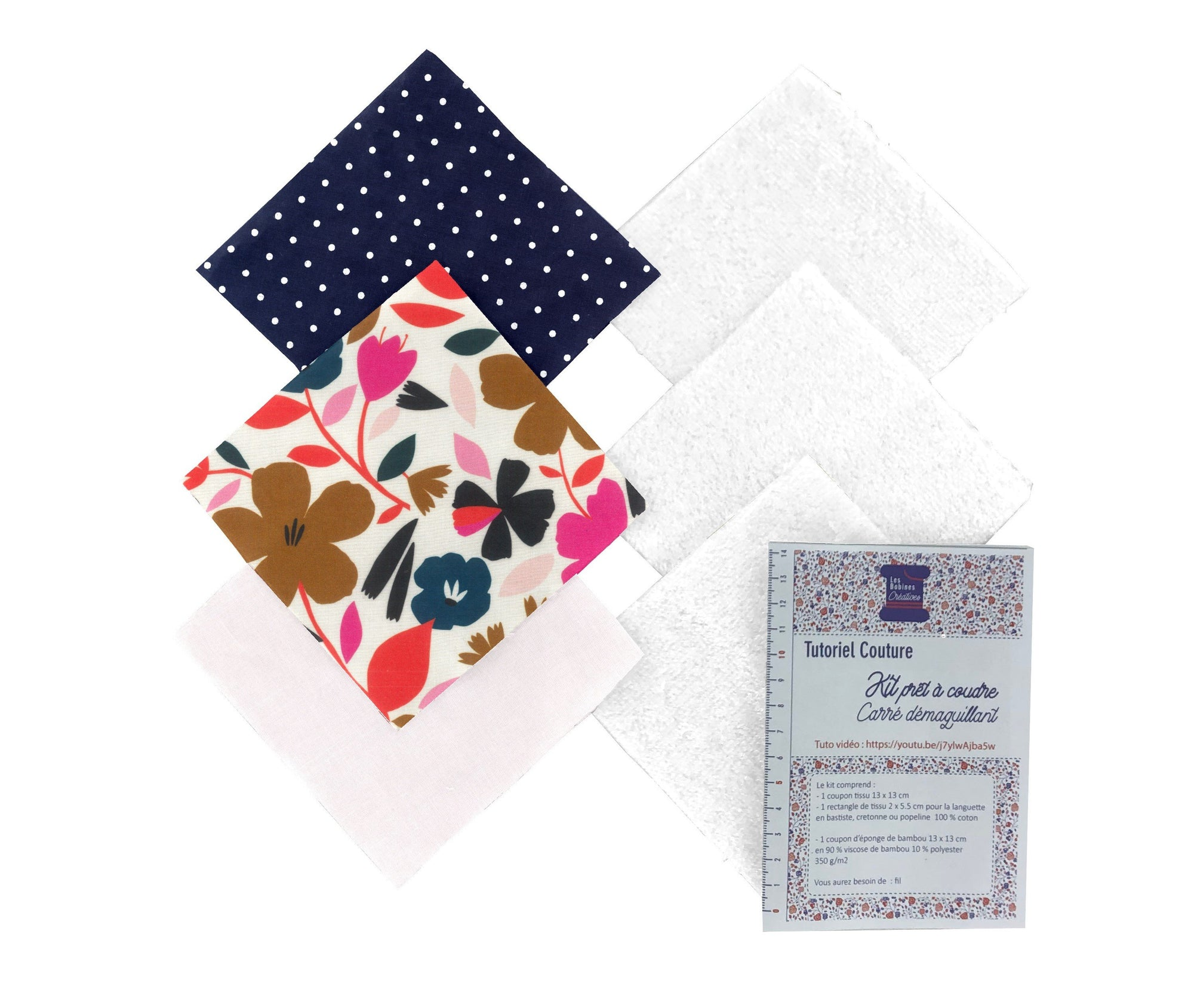 Carré démaquillant lot de 3 : Champ floral - lesbobinescreatives