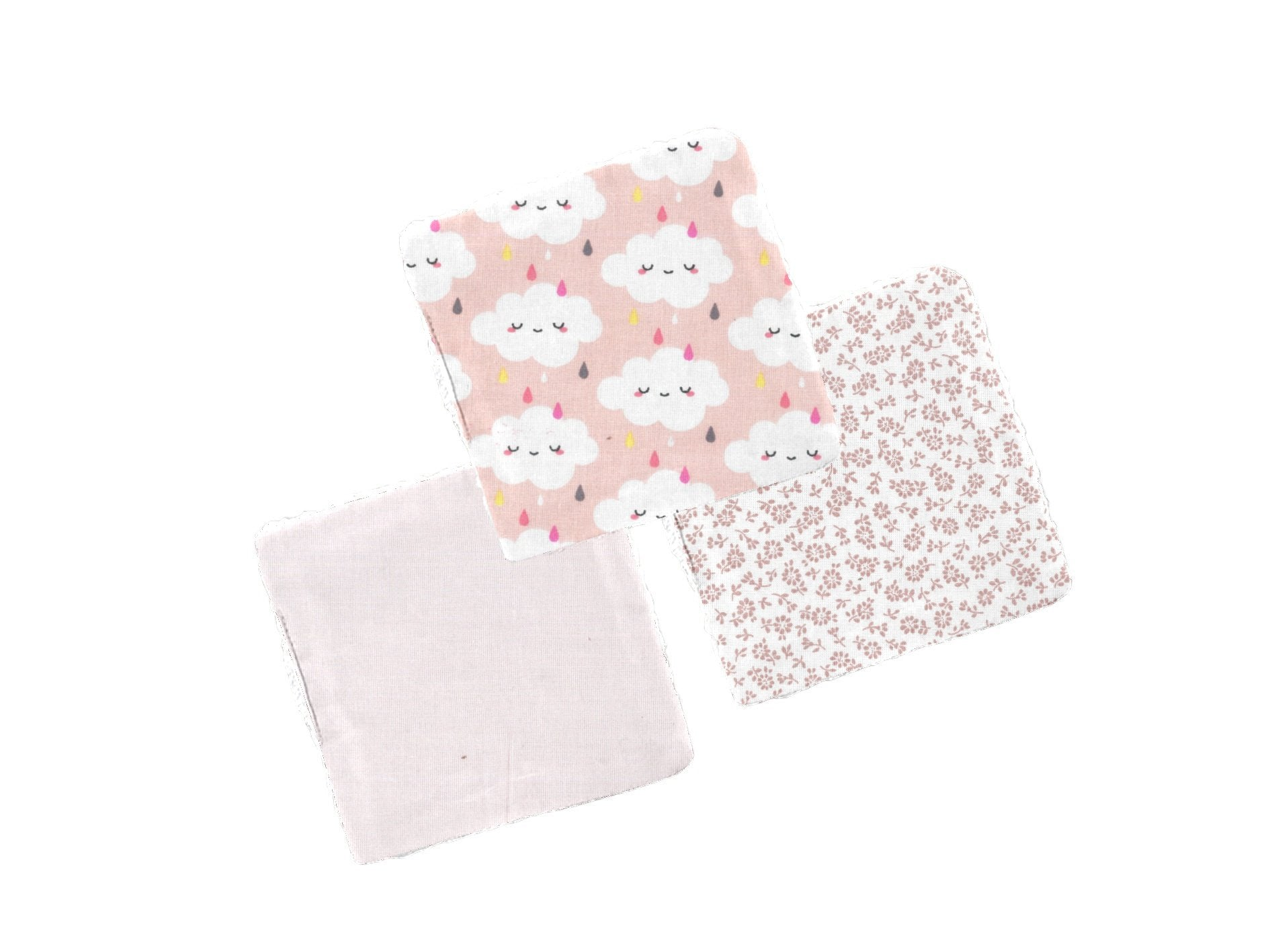 Carré démaquillant lot de 3 :  Nuage rose - lesbobinescreatives