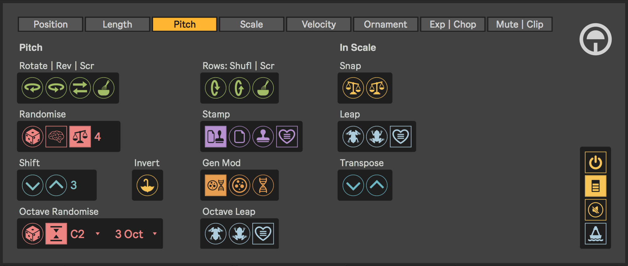 The Pitch edit page of Tranz4ma's graphical user interface.