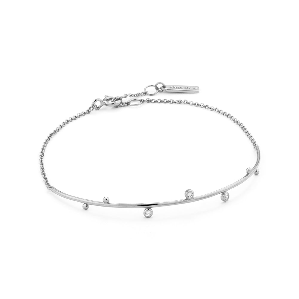 Load image into Gallery viewer, Silver Shimmer Solid Bar Stud Bracelet