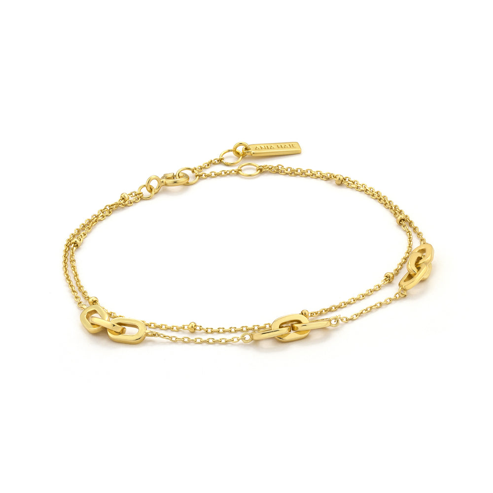 Gold Links Double Bracelet