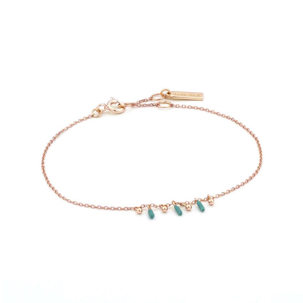 Rose Gold Dotted Triple Drop Bracelet