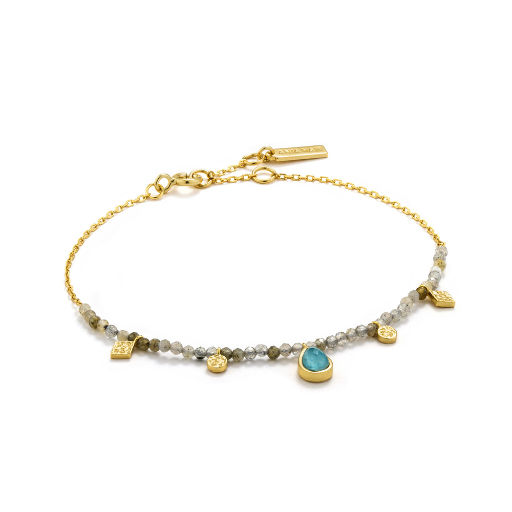 Turquoise and Labradorite Gold Bracelet