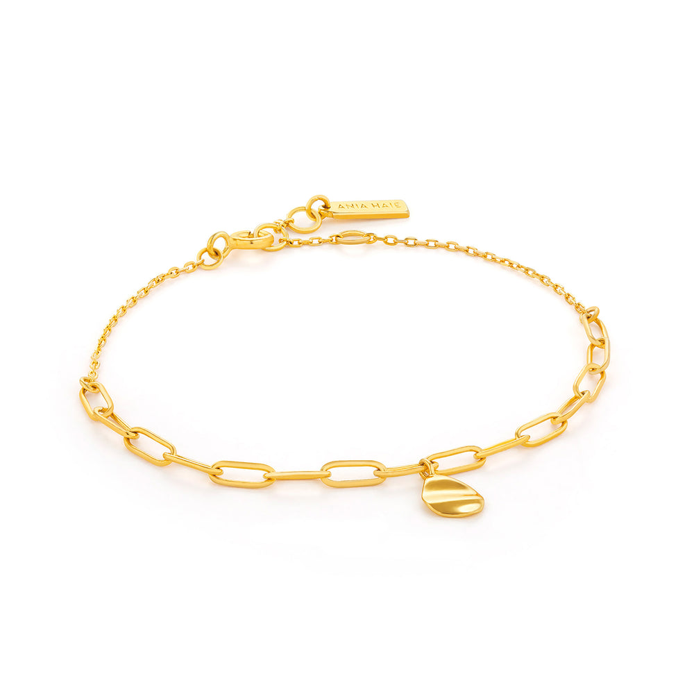 Gold Crush Drop Disc Bracelet