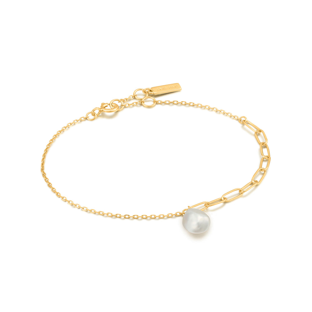 Load image into Gallery viewer, Gold Pearl Chunky Bracelet
