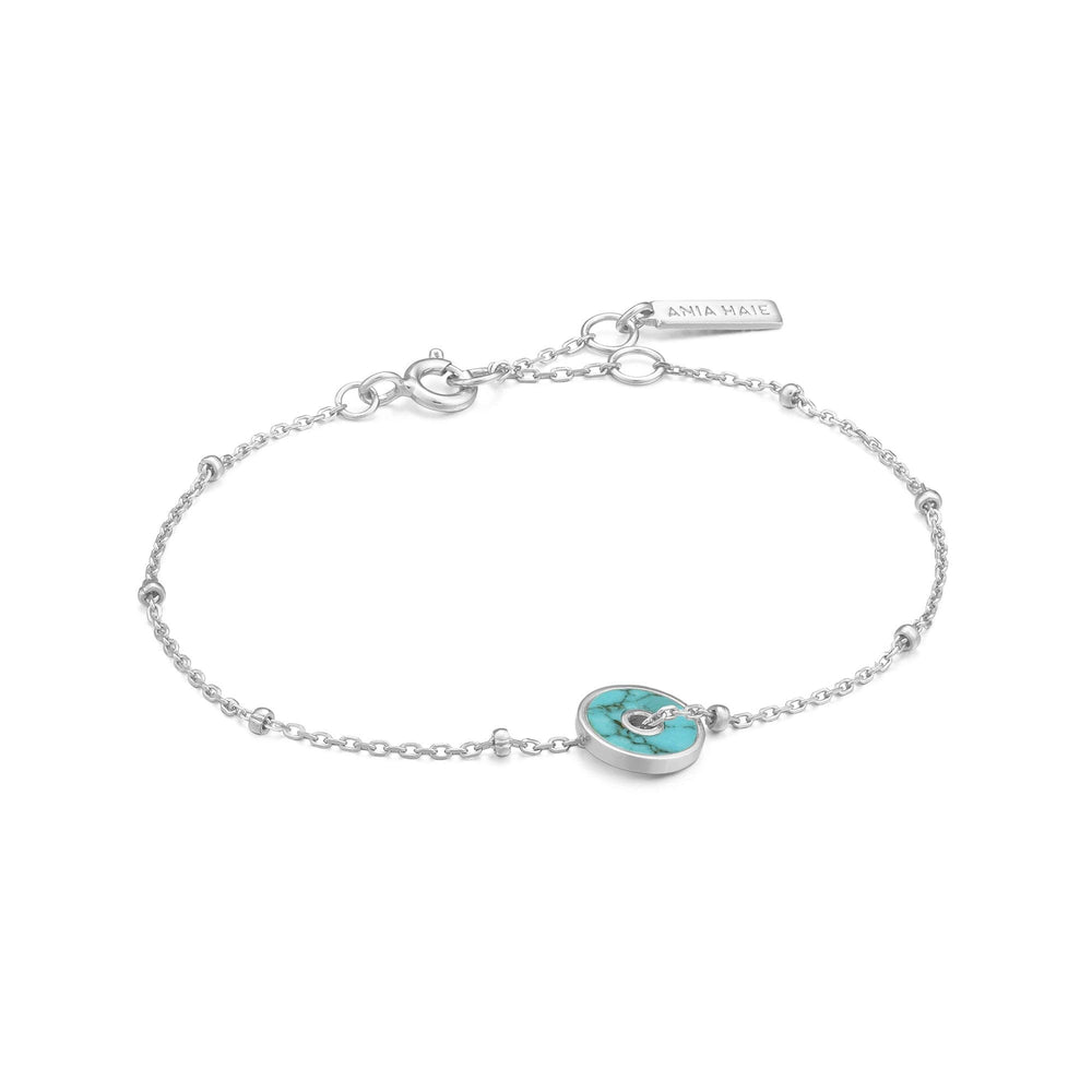 Load image into Gallery viewer, Silver Turquoise Disc Bracelet