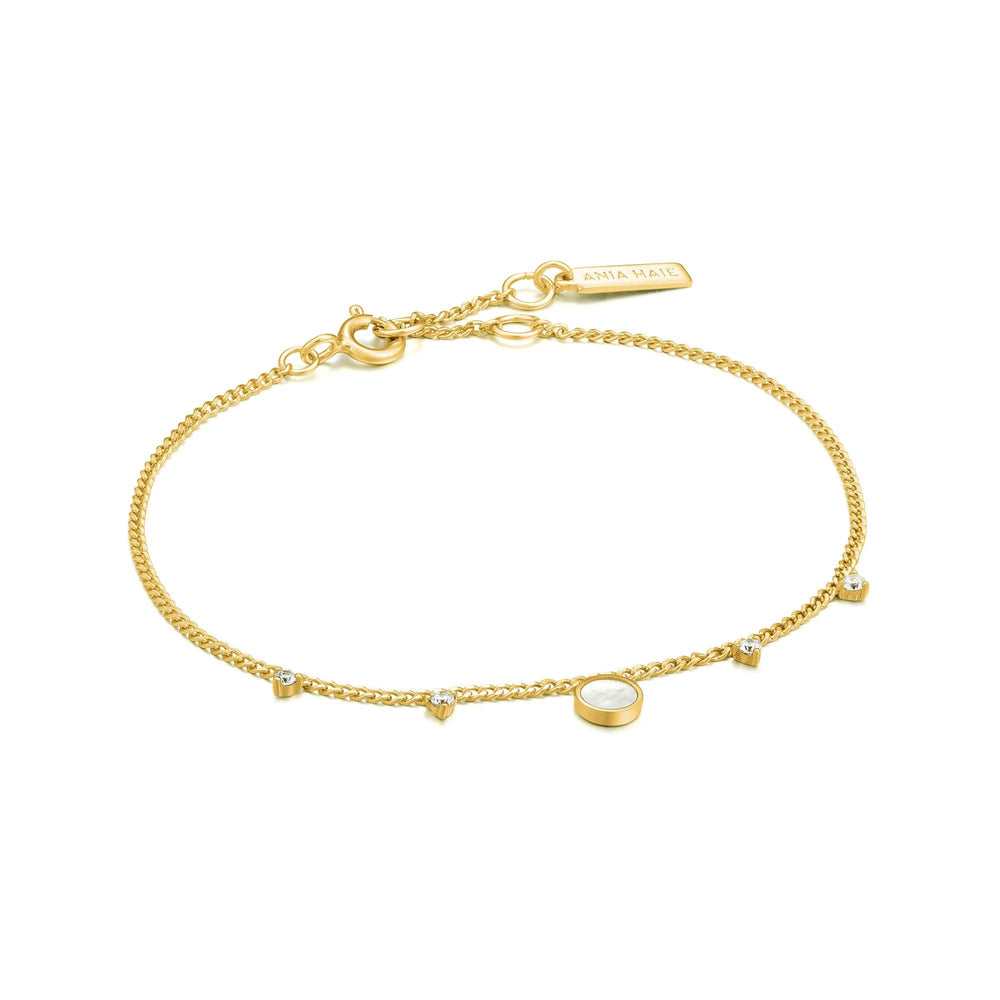Gold Mother Of Pearl Drop Disc Bracelet