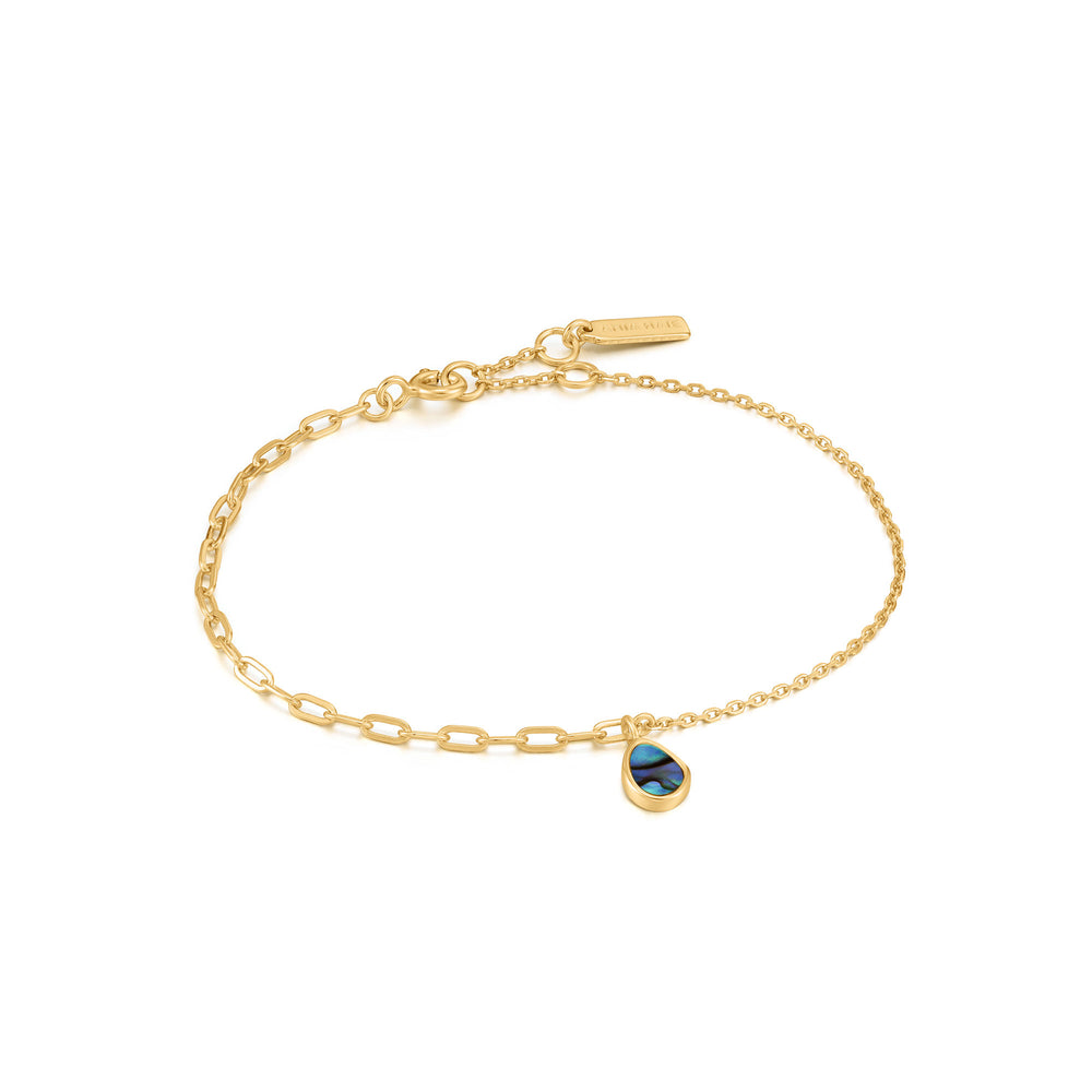 Gold Tidal Abalone Mixed Link Bracelet