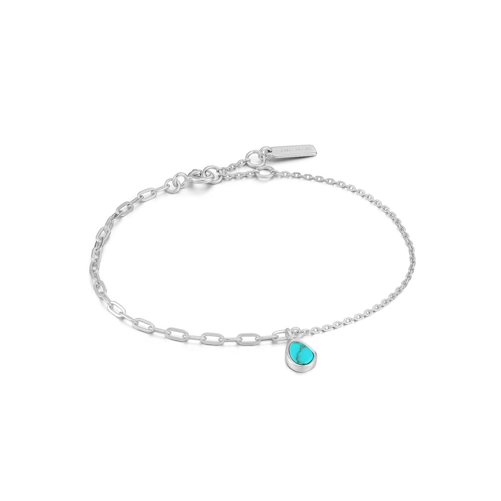 Silver Tidal Turquoise Mixed Link Bracelet