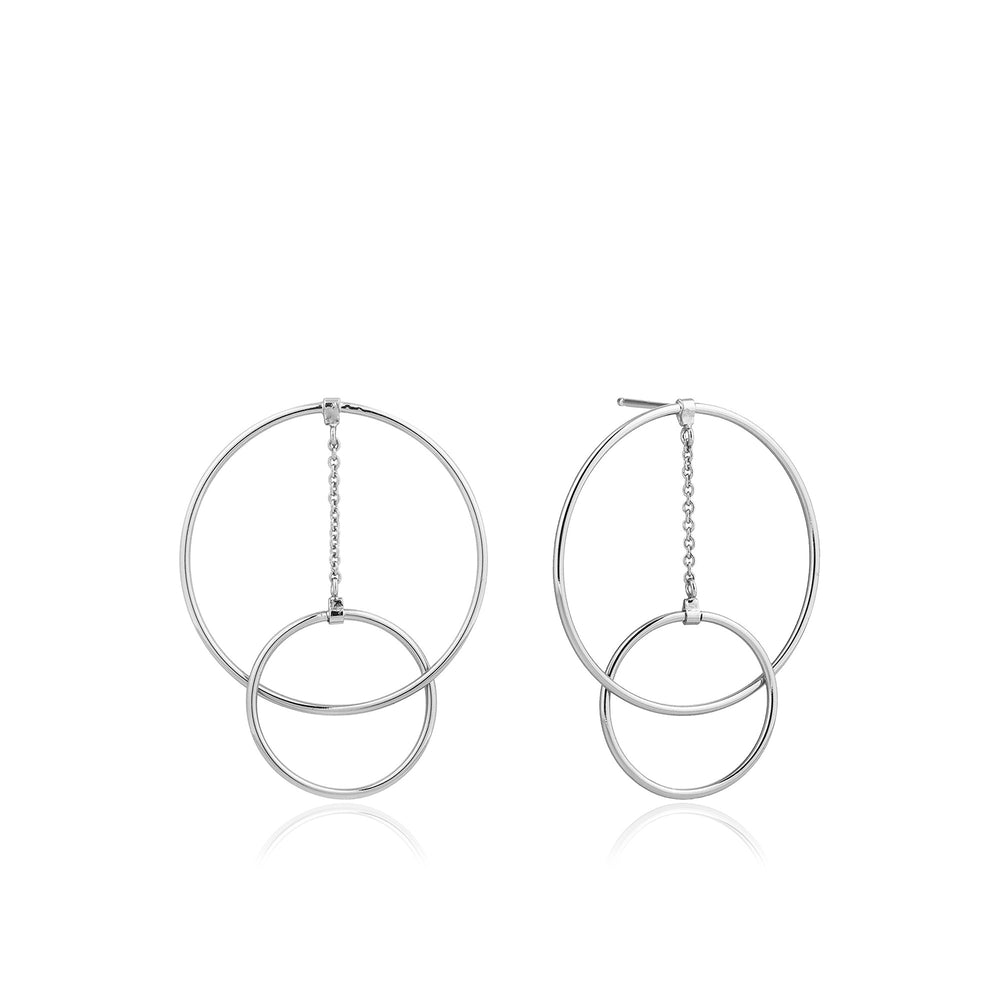 Silver Modern Front Hoop Earrings